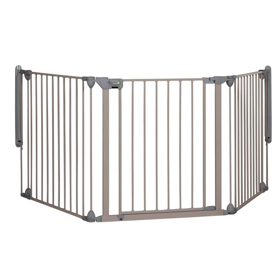 Safety 1st Модулна метална преграда-3 модула за отвори 82-214см, сива-