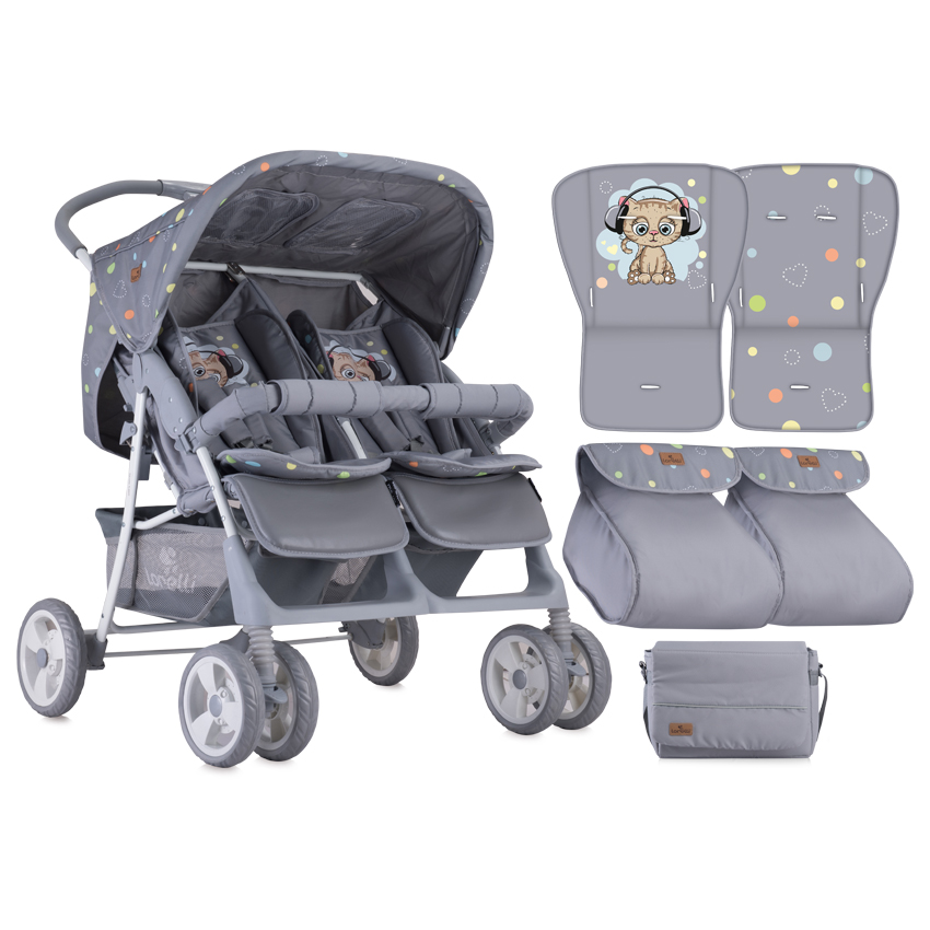Детска Количка Twin Grey Cute Kitten+Чанта Lorelli 10020071805